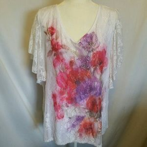 Brittany Black Lace Floral Top Size 2X